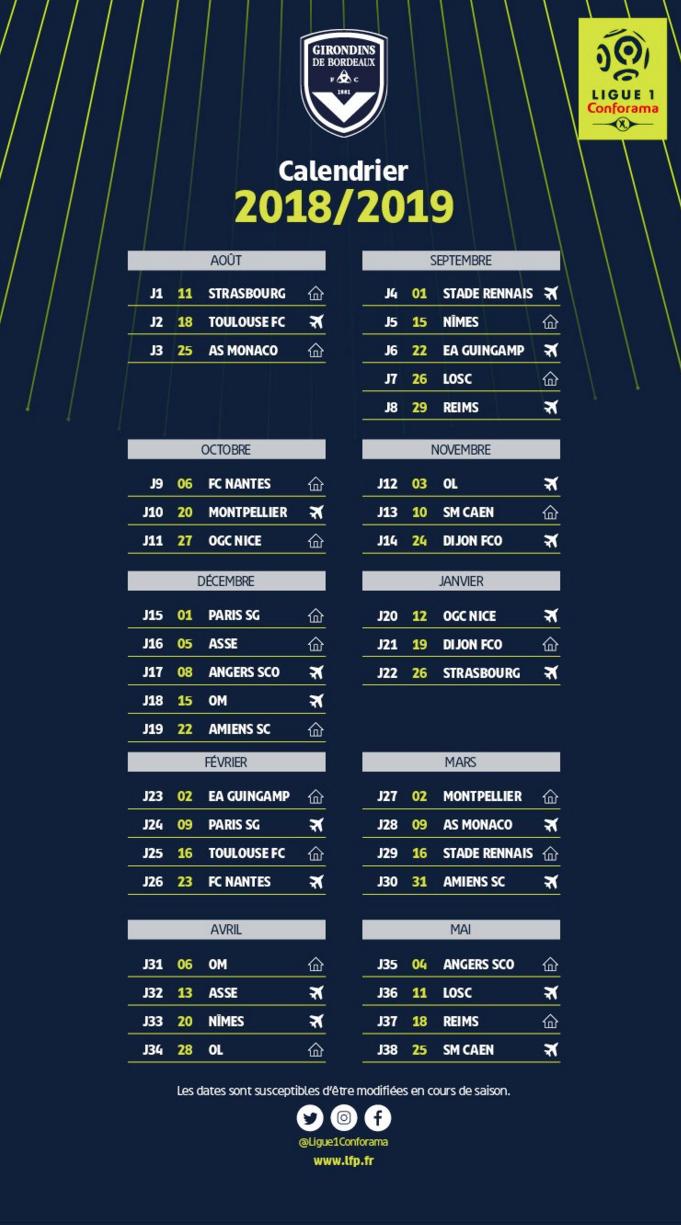 Calendrier Et Resultats Ligue 1.Girondins Le Calendrier Complet De Bordeaux Pour La Saison